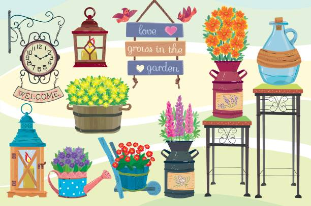 Garden decor Garden decor.Garden decorative set garden center stock illustrations