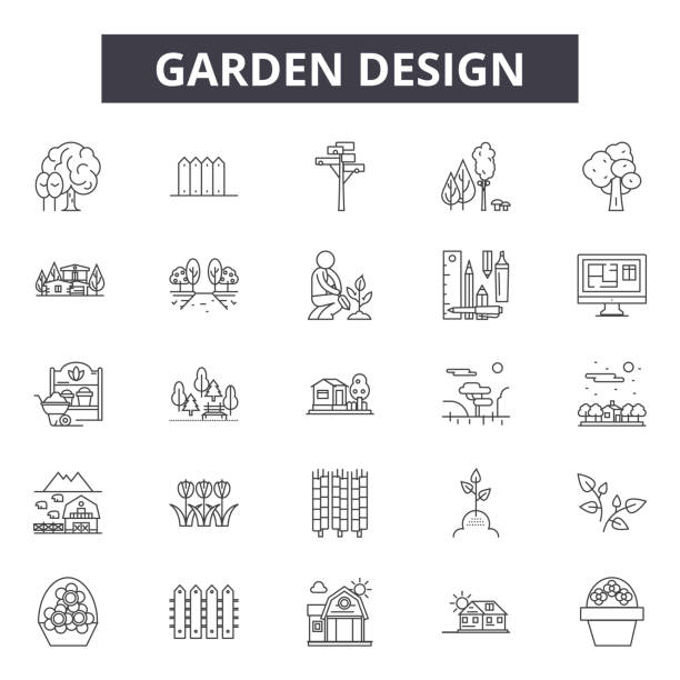 stockillustraties, clipart, cartoons en iconen met tuinontwerp lijn iconen voor web-en mobiele design. bewerkbare lijn tekens. tuinontwerp schets concept illustraties - garden house