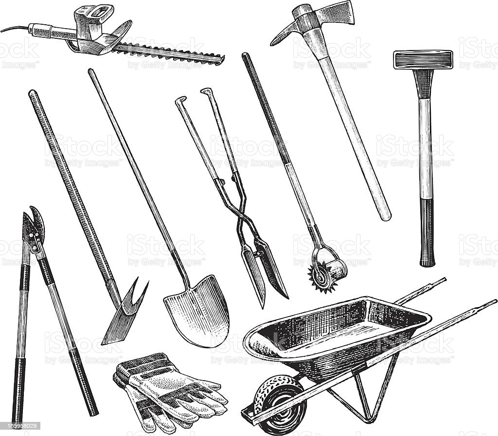 Garden Digging and Trimming Tools vector art illustration