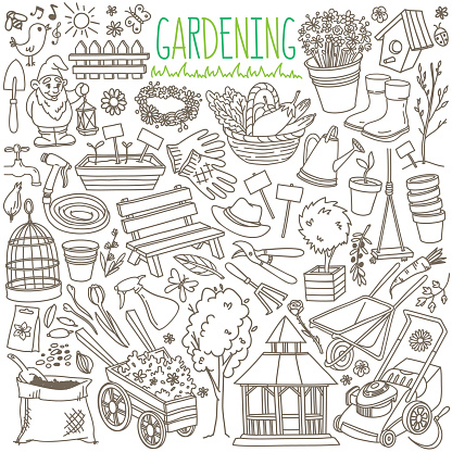 Garden doodle set. Equipment and facilities for gardening, farming, agriculture and horticulture.