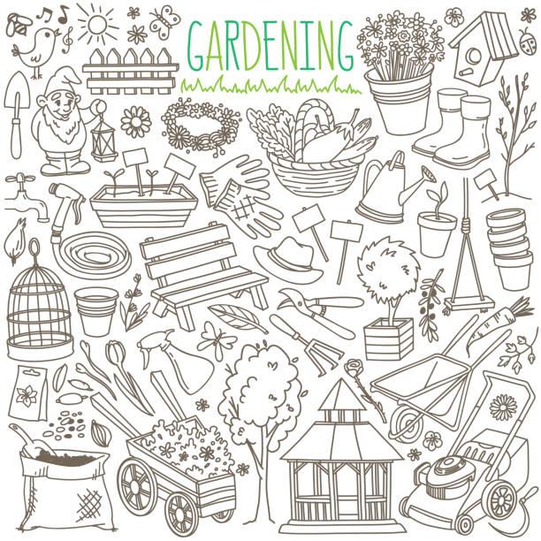garten-doodle-set. ausrüstung und einrichtungen für gartenbau, landwirtschaft, landwirtschaft und gartenbau. - garten stock-grafiken, -clipart, -cartoons und -symbole
