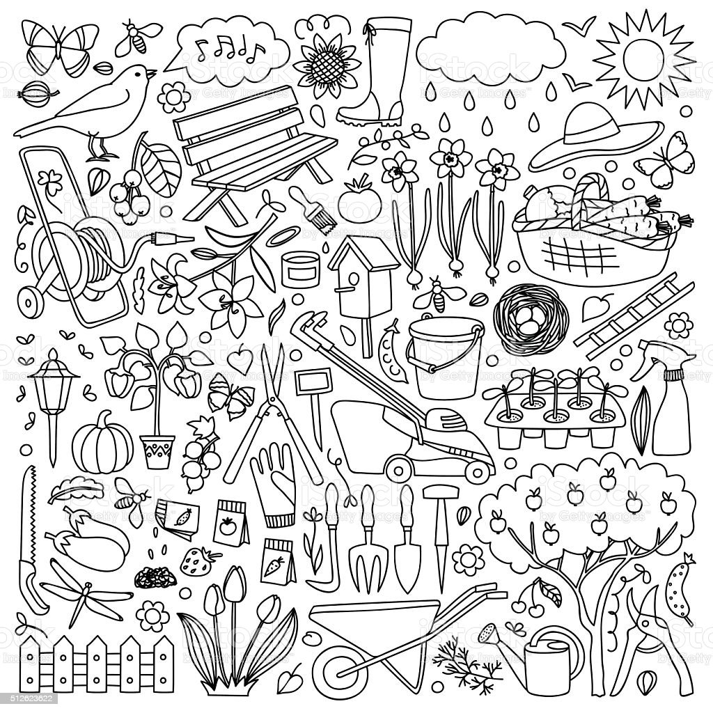 Garden doodle set vector art illustration