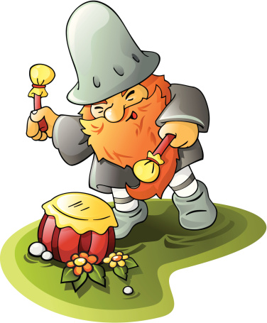 Garden dwarf with drum.