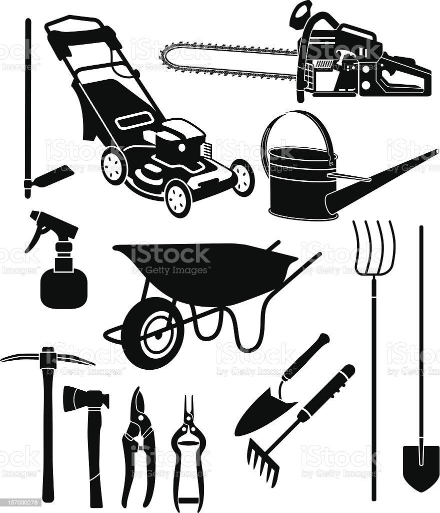 garden equipment 3 vector art illustration