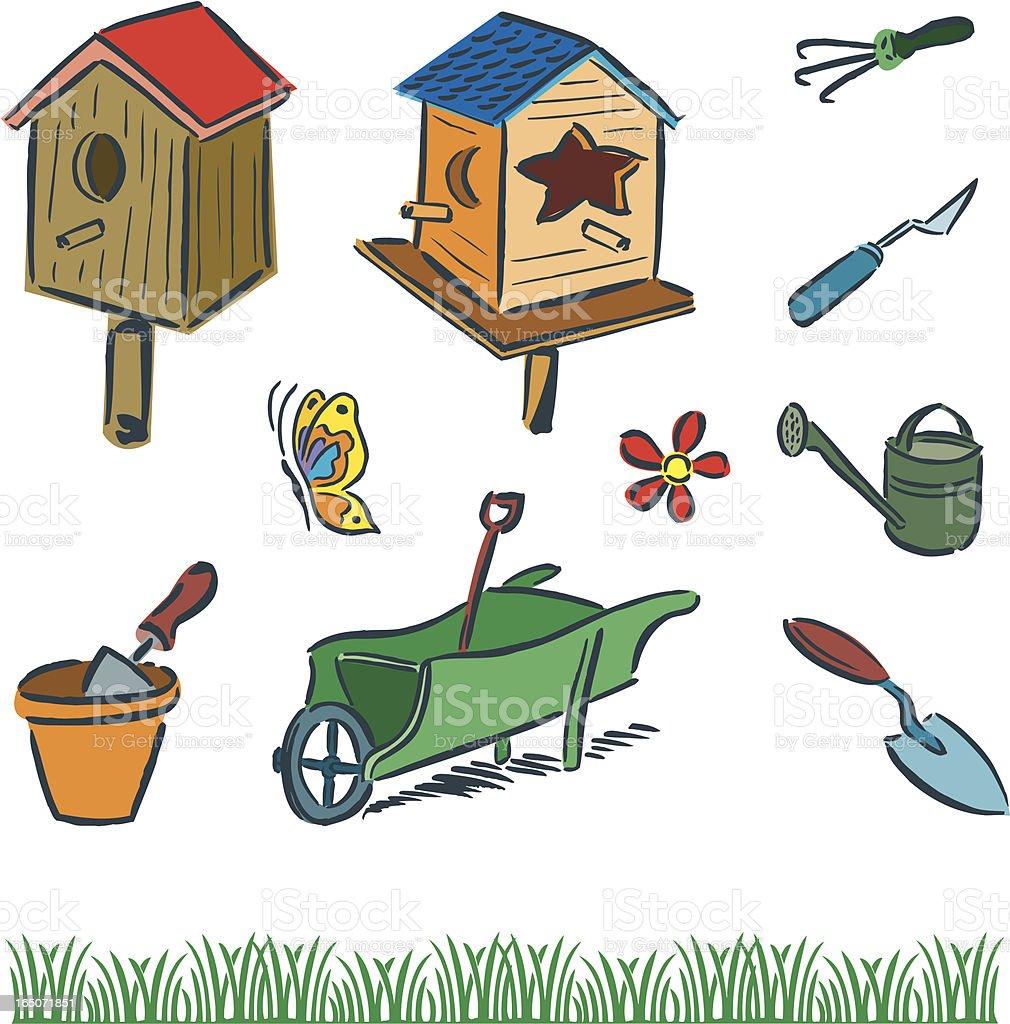 Garden Equipment and Bird Houses vector art illustration