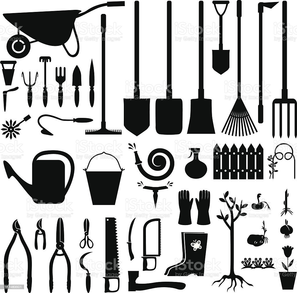 Garden equipment set vector art illustration