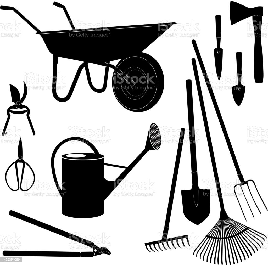 Garden equipment silhouette vector set. vector art illustration