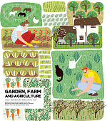 Garden, farm and agriculture. Vector illustration of gardener, garden beds, fields, maps, houses, nature, greenhouse and harvest. Drawings for poster, background or postcard