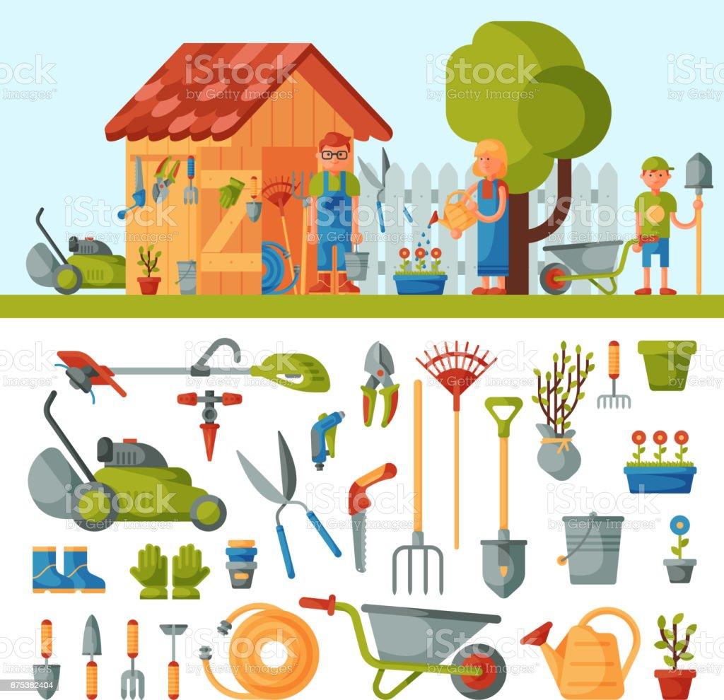 Ferramentas de jardim Fazenda instrumentos e família de fazendeiro perto de casa várias ferramentas agrícolas para jardinagem ilustração em vetor colorido cuidados plana - ilustração de arte em vetor