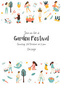 Garden festival invitation template with tiny farmers. Festival poster and banner colorful design.