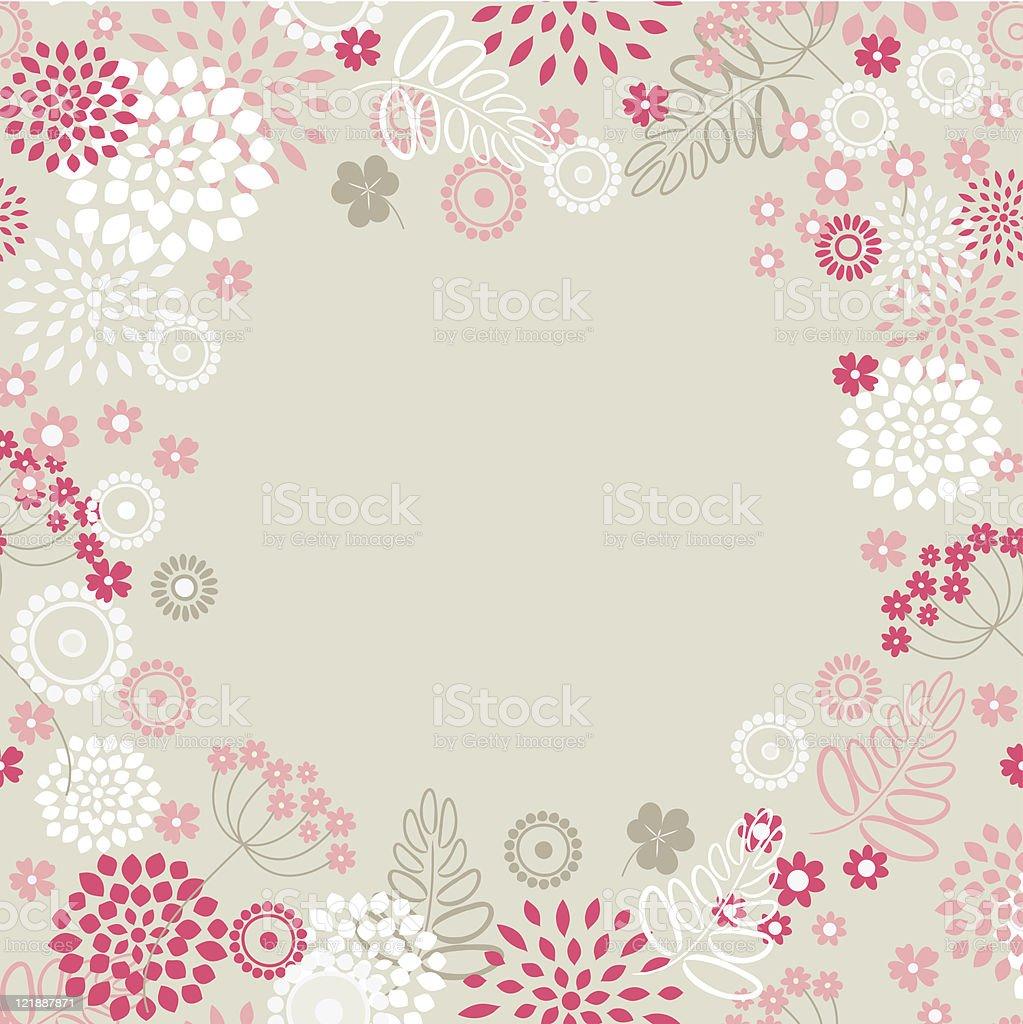 Garden flowers and herbs background. vector art illustration