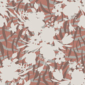 Mixed geometrical texture with flowers silhouettes. Florals combined with abstract simple elements crossed lines, stripes ornament. Seamless pattern for textile and fabric.