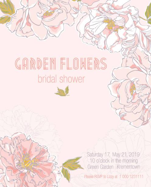 Garden Flowers. Peonies. Bridal Shower. vector art illustration