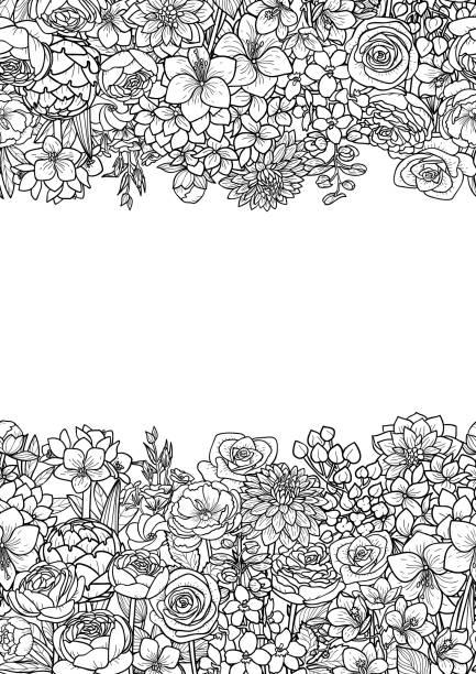 Garden Flowers Seamless Border vector art illustration