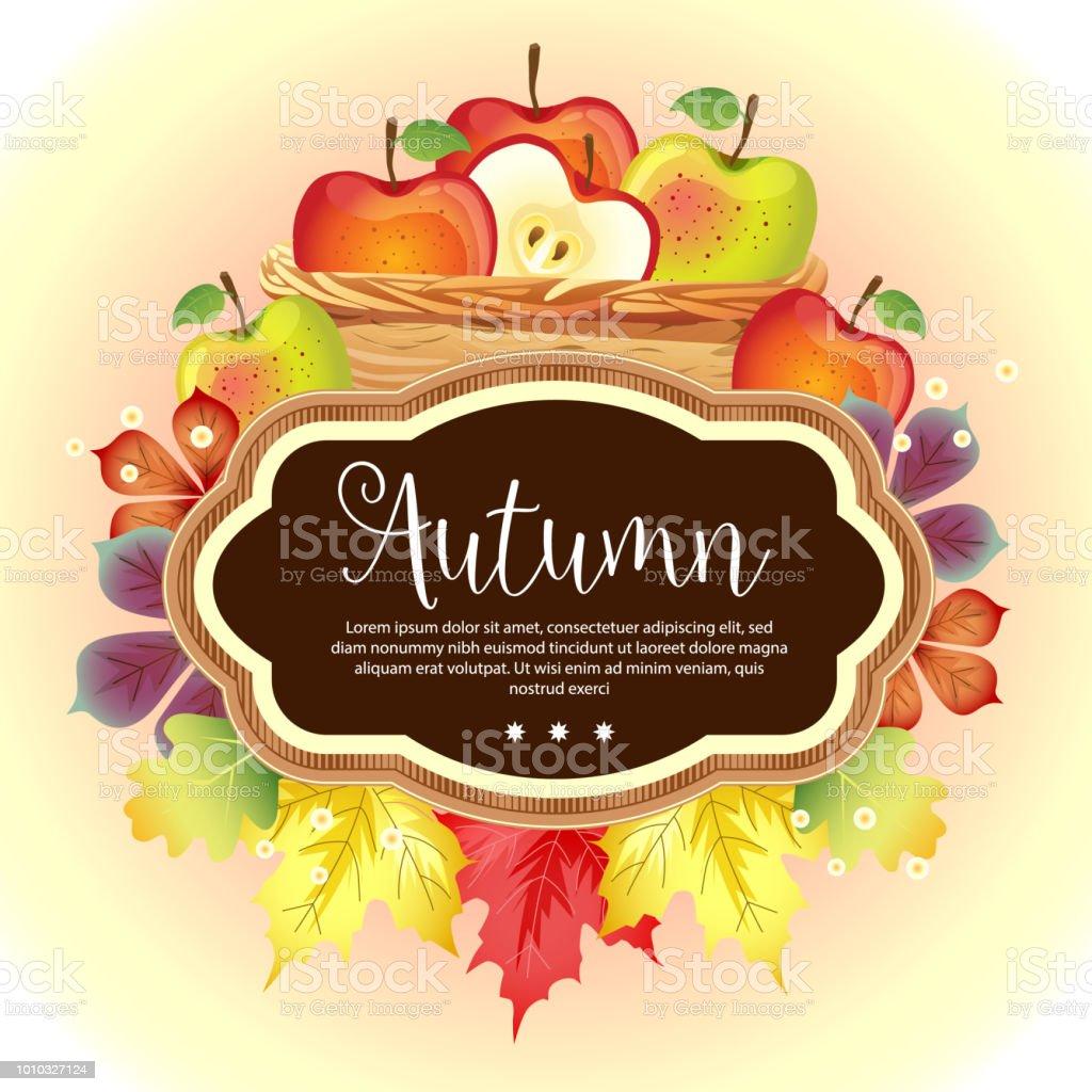 Garden Foliage Template Autumn Apple Basket Stock Vector Art & More ...