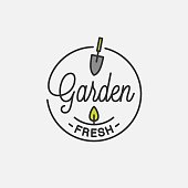 Garden fresh design. Round linear of garden tool on white background 8 eps