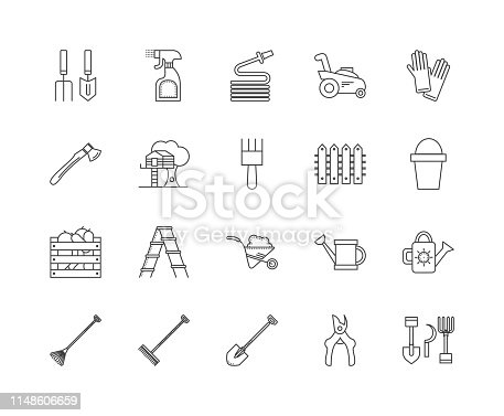 Garden furniture & accessories line icons, linear signs, vector set, outline concept illustration
