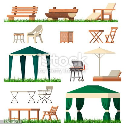 Garden furniture vector tent table chair seat on terrace design outdoor in summer backyard outside illustration gardening relaxation set of furnished chaise. lounge isolated on white background.