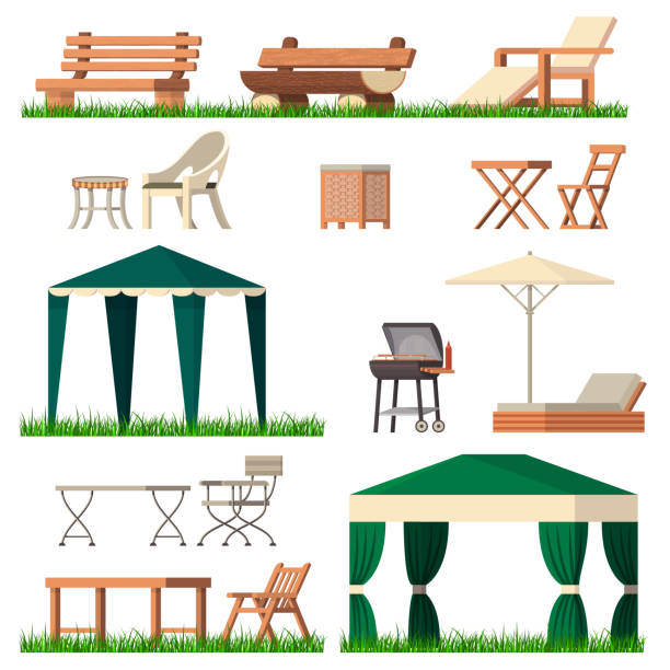 Garden furniture vector tent table chair seat on terrace design outdoor in summer backyard outside illustration gardening relaxation set of furnished chaise lounge isolated on white background Garden furniture vector tent table chair seat on terrace design outdoor in summer backyard outside illustration gardening relaxation set of furnished chaise. lounge isolated on white background. patio stock illustrations
