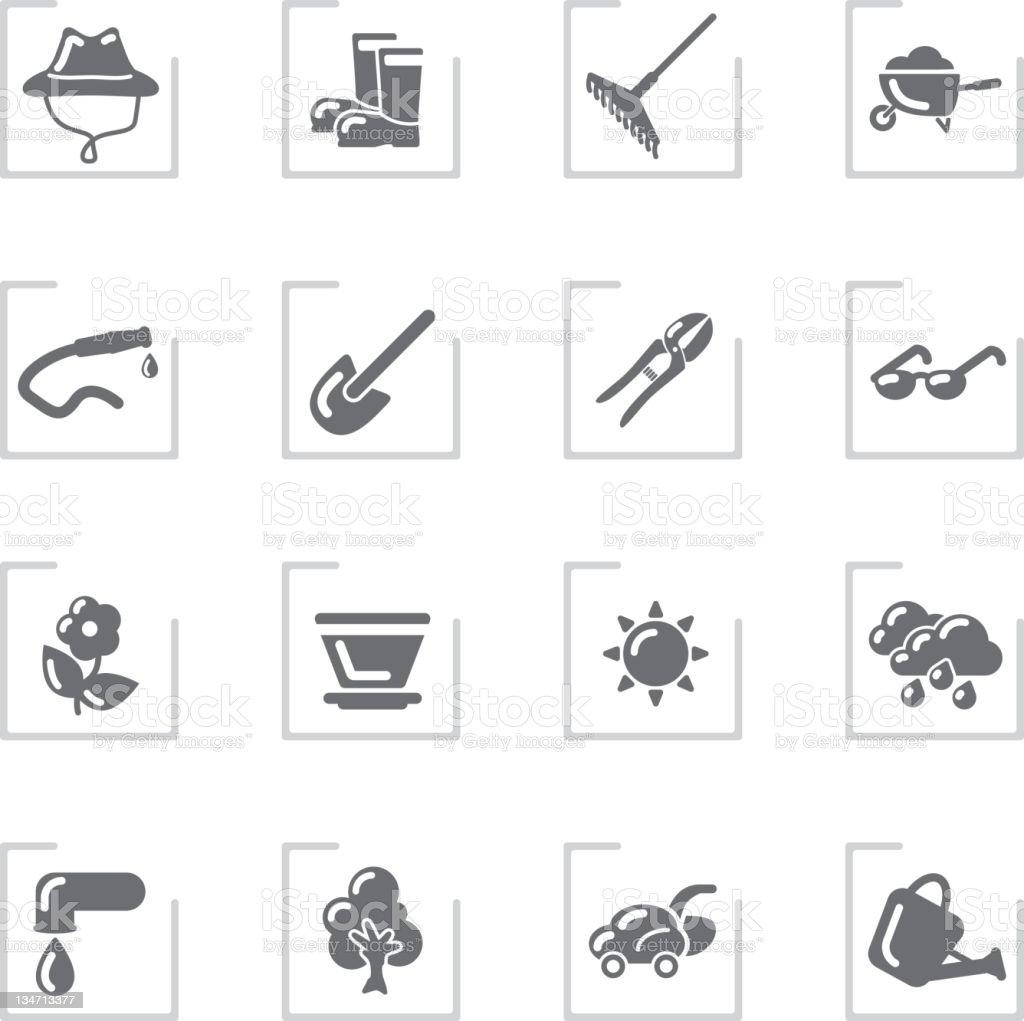 Garden & Gardener Icons   Framed Grey royalty-free stock vector art