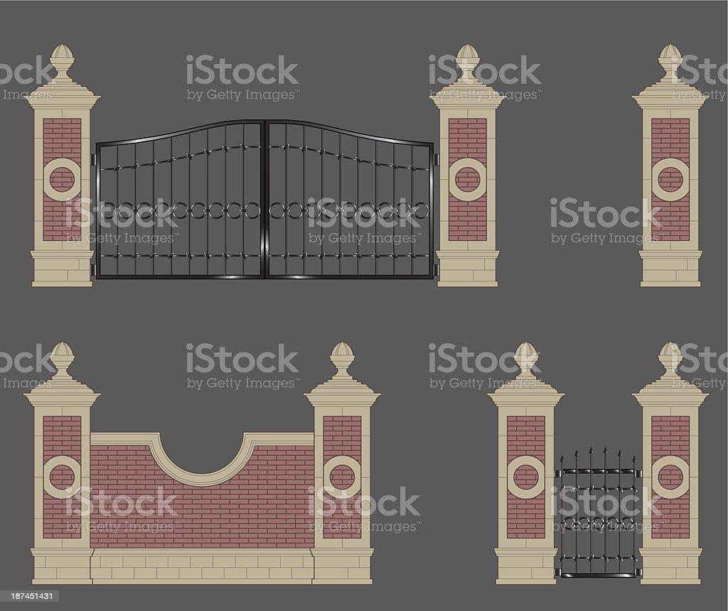 garden gate vector art illustration