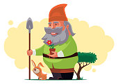 garden gnome holding shovel with rabbit