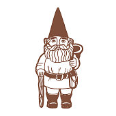 Garden Gnome in Hand Drawn Style