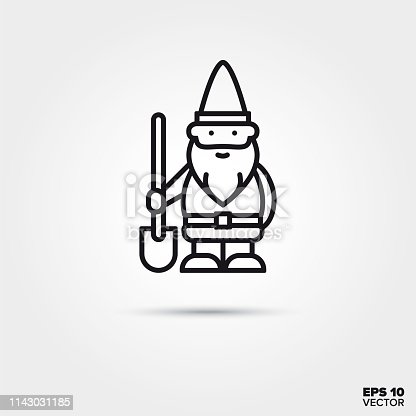 Garden gnome with shovel line icon. EPS 10 vector decoration symbol.