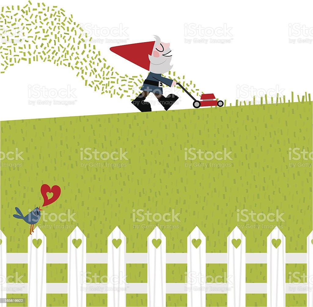 garden gnome mowing the lawn vector royalty-free stock vector art