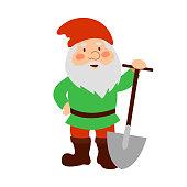 Garden gnome with shovel.