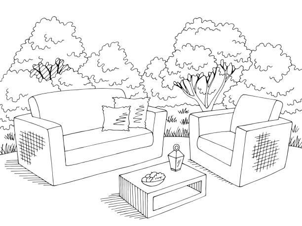 gartengrafik hinterhof-sofa-sessel tisch schwarz-weiß skizze illustration vektor - gartensofa stock-grafiken, -clipart, -cartoons und -symbole