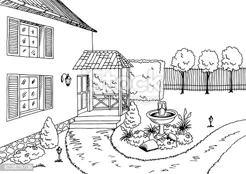 Garden Graphic Black White Landscape Sketch Illustration