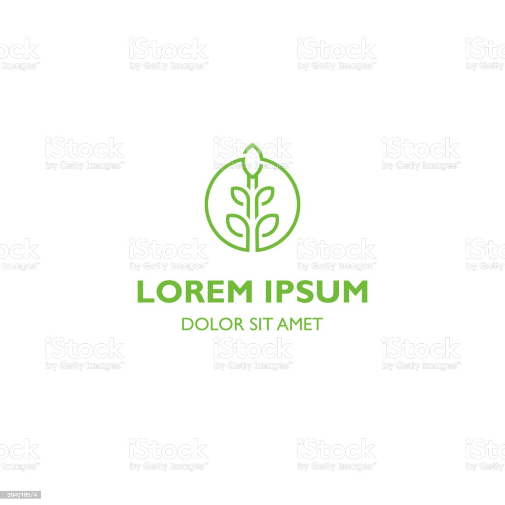 Garden, green nature, sprout and leaves, organic sign, agriculture symbol. Vector icon template royalty-free garden green nature sprout and leaves organic sign agriculture symbol vector icon template stock vector art & more images of abstract