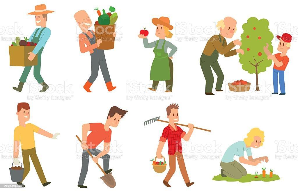 Garden harvest people vector set. vector art illustration