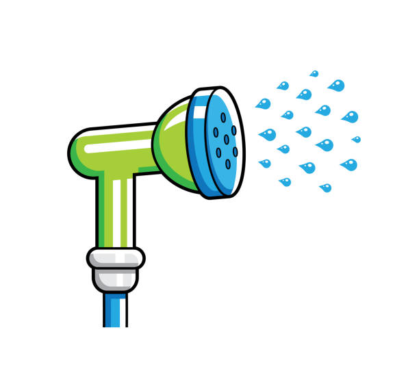 garden hose nozzle spraying water - tap water stock illustrations