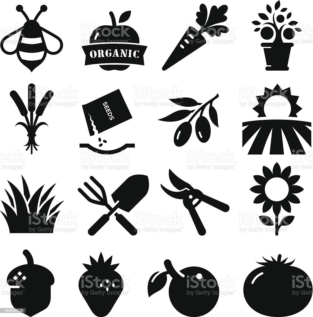Garden Icons - Black Series vector art illustration