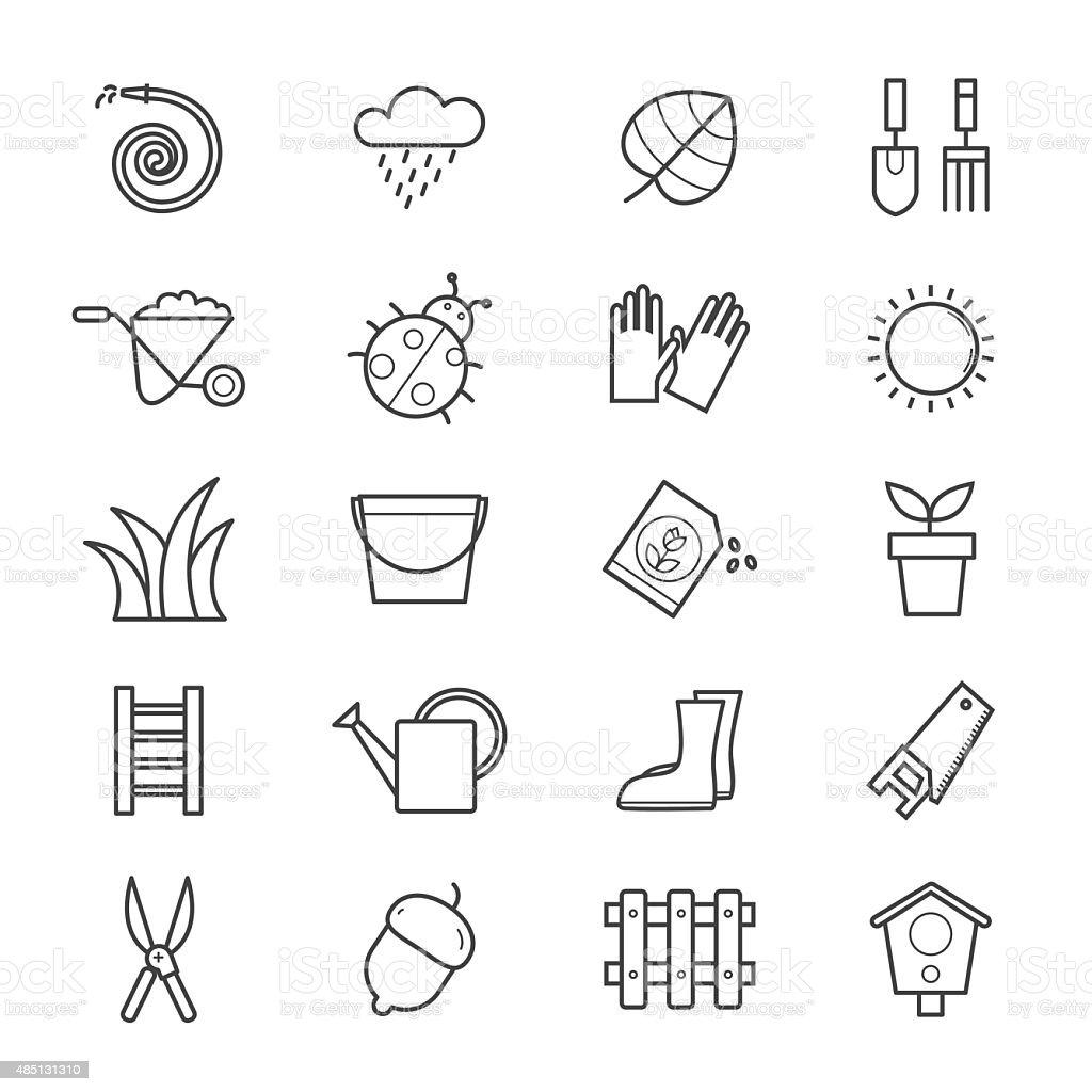 Jardin icônes ligne - Illustration vectorielle