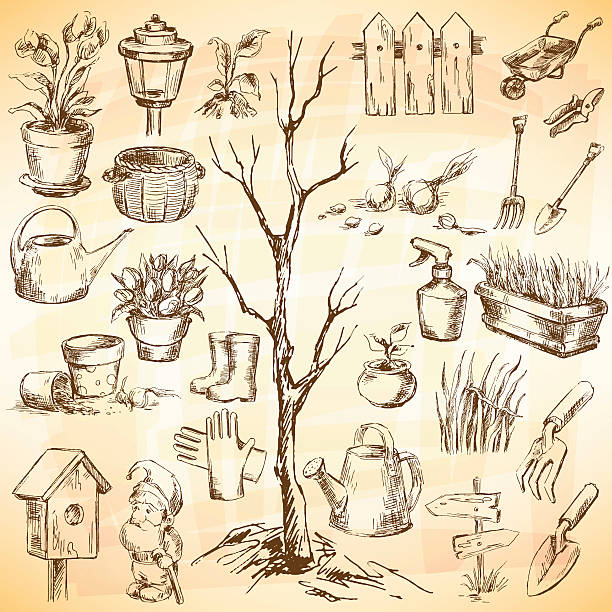 Garden icons set Garden icons set. Sketch converted to vectors. formal glove stock illustrations