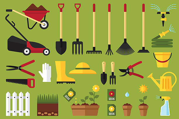 stockillustraties, clipart, cartoons en iconen met garden icons - kruiwagen