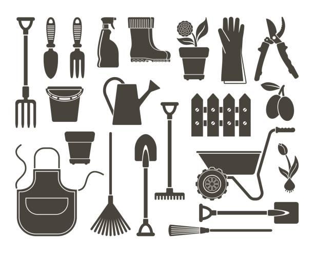 Garden icons. Vector illustration Garden tools, the equipment and symbols. Vector illustration garden hoe stock illustrations