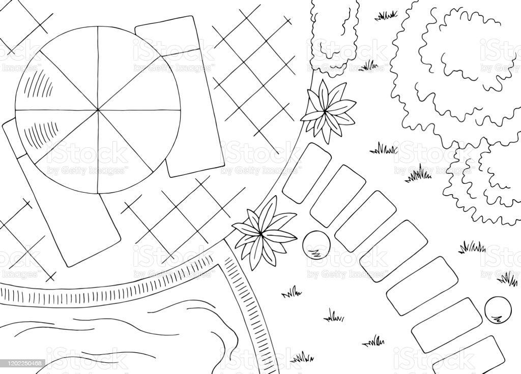 Garden Landscape Architect Design Backyard Graphic Black White Sketch Aerial View Illustration Vector Stock Illustration Download Image Now Istock