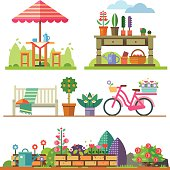 Garden landscapes, summer and spring: picnic, bike, watering can, flower bed.