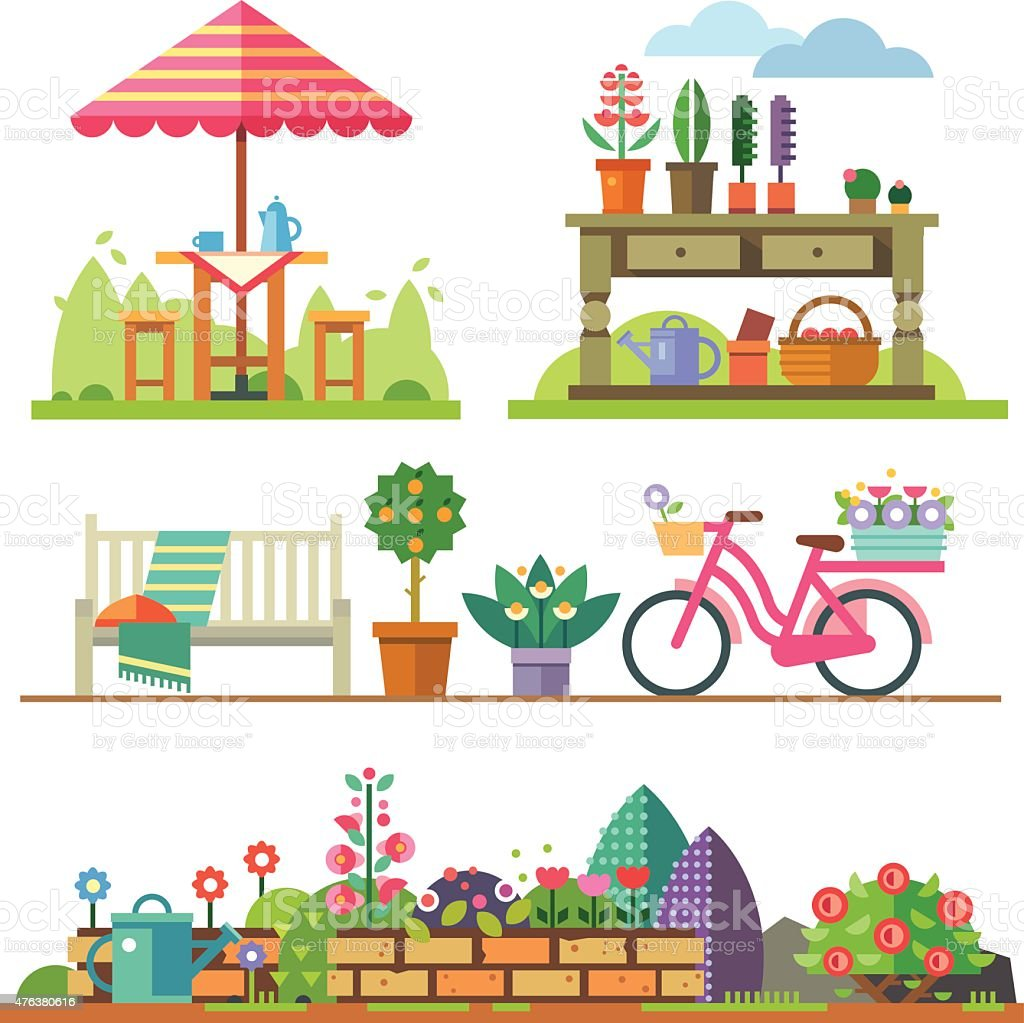 Garden landscapes, summer and spring vector art illustration