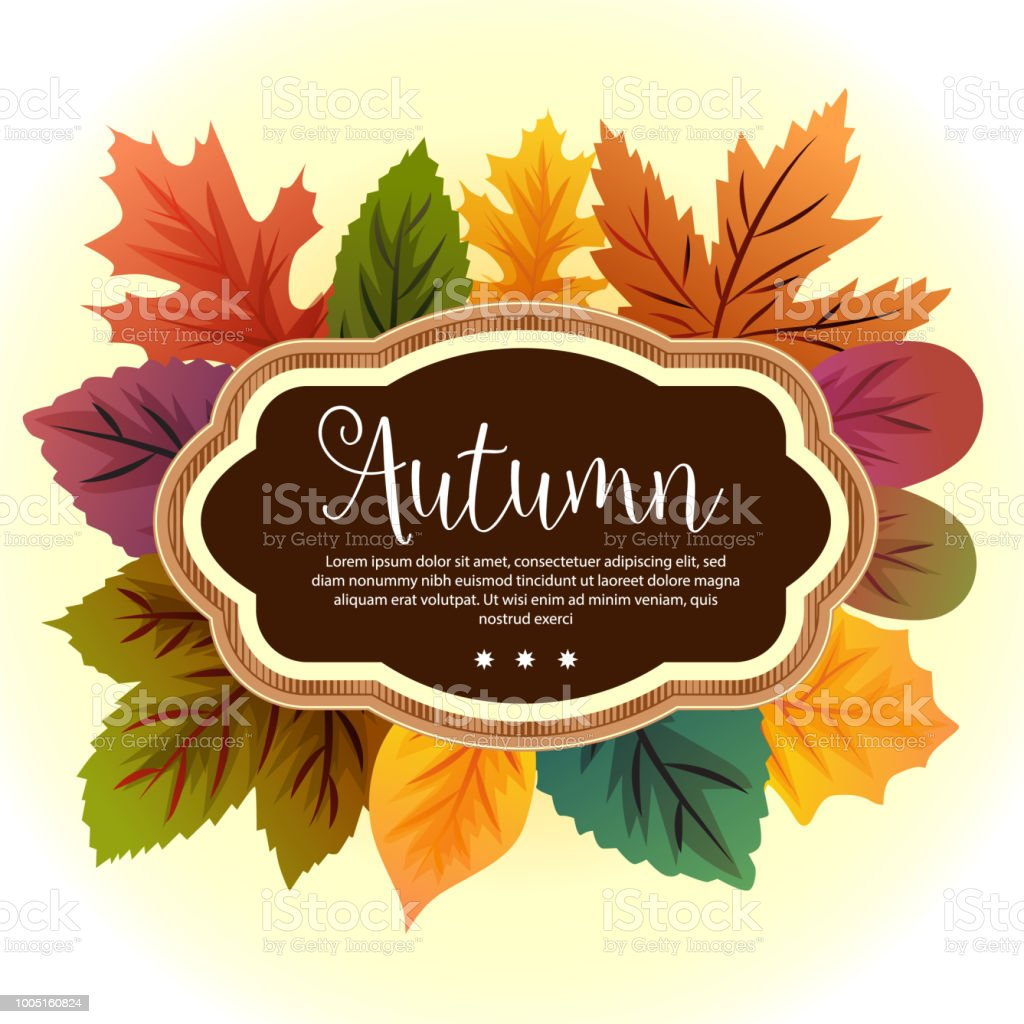 Garden Leaves Template Autumn Stock Vector Art & More Images of ...