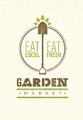 Garden Market Food Concept. Eco Local Food Creative Sign Vector Sign Design On Rough Background