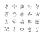 Garden nurseries line icons, signs, vector set, outline illustration concept