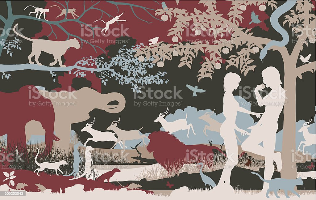 Garden of Eden vector art illustration