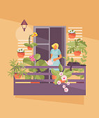 Girl on the balcony watering flowers. Home garden on the loggia. Vector illustration