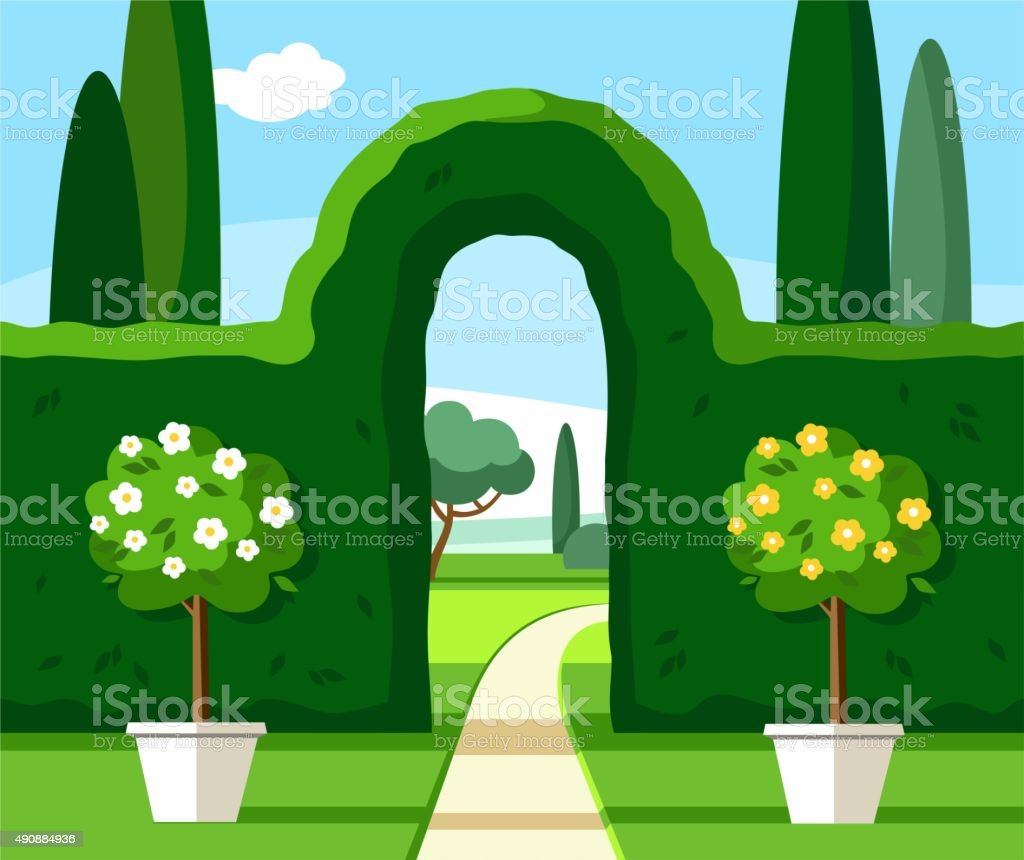 Garden, Park, green arch, trees are blooming, coloured illustrations. vector art illustration