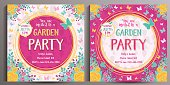 Garden Party Invitation. Set of two Floral square cards.